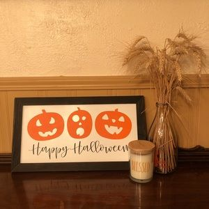 Happy Halloween Pumpkin Farmhouse Wood Sign